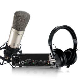 Pack de grabación AKG & Behringer I | Interfaz de Audio Micrófono Condensador Audífono y cable