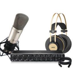 Pack de grabación AKG & Behringer III || Interfaz de Audio Microfono Condensador Audifono y cable