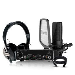 Pack de grabación Boya & Behringer I | Interfaz de Audio Micrófono Condensador Audífono y cable