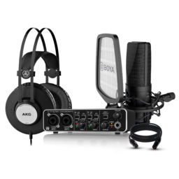 Pack de grabación AKG & Behringer II || Interfaz de Audio Microfono Condensador Audifono y cable